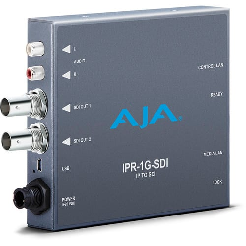 AJA JPEG 2000 IP Video & Audio to 3G-SDI Converter