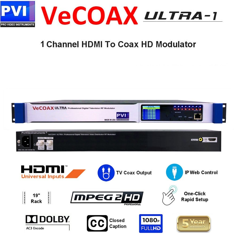 86c8d371bd9 VECOAX ULTRA-1 é um modulador de HDMI para canais para distribuir coaxial  de HD Video Over com controle remoto via Web IP